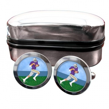 Wide Receiver Round Cufflinks