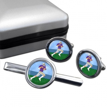 Wide Receiver Round Cufflink and Tie Clip Set