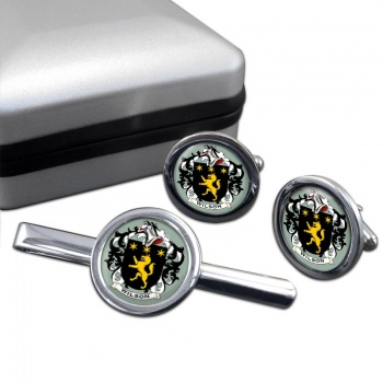 Wilson Coat of Arms Round Cufflink and Tie Clip Set