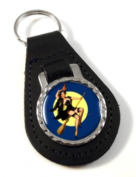 Witch's Delight Pin-up Girl Leather Key Fob
