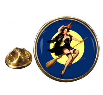 Witch's Delight Pin-up Girl Round Pin Badge