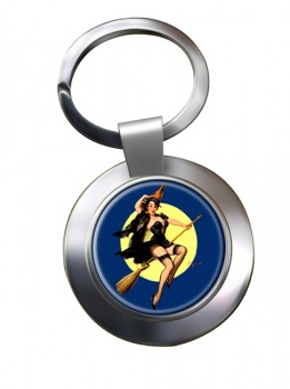 Witch's Delight Pin-up Girl Chrome Key Ring