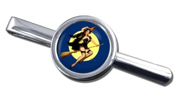 Witch's Delight Pin-up Girl Round Tie Clip