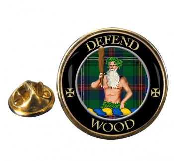 Wood Scottish Clan Round Pin Badge