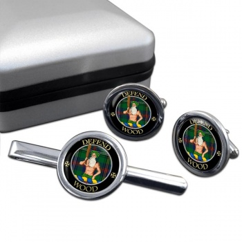 Wood Scottish Clan Round Cufflink and Tie Clip Set
