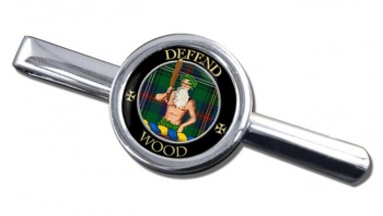 Wood Scottish Clan Round Tie Clip