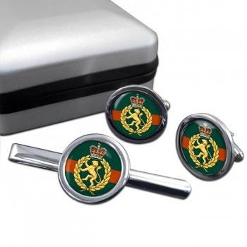Women's Royal Army Corps Round Cufflink and Tie Clip Set
