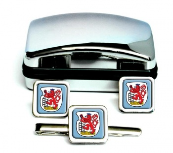 Wuppertal (Germany) Square Cufflink and Tie Clip Set