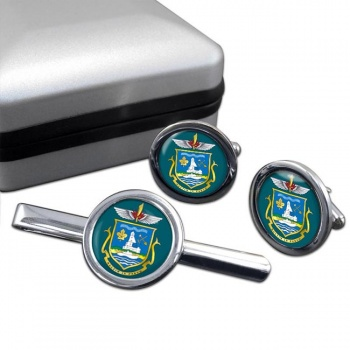 Yellowknife (Canada) Round Cufflink and Tie Clip Set
