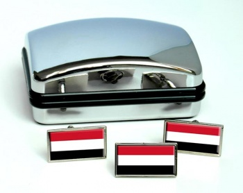 Yemen Flag Cufflink and Tie Pin Set