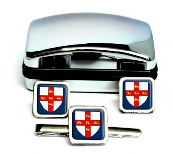 York (England) Square Cufflink and Tie Clip Set