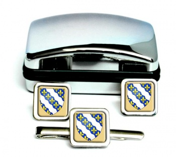 Yvelines (France) Square Cufflink and Tie Clip Set