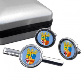 Zaragoza (Spain) Round Cufflink and Tie Clip Set