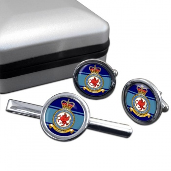 No. 18 Squadron (Royal Air Force) Round Cufflink and Tie Clip Set