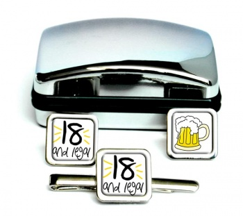 18 and Legal Square Cufflink and Tie Clip Set