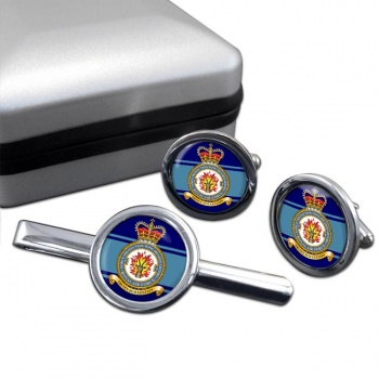 No. 2 Force Protection Wing (Royal Air Force) Round Cufflink and Tie Clip Set
