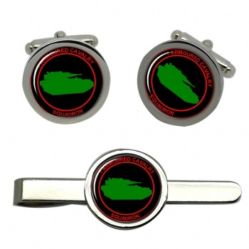 1st Armoured Cavalry Squadron (Ireland) Round Cufflink and Tie Clip Set