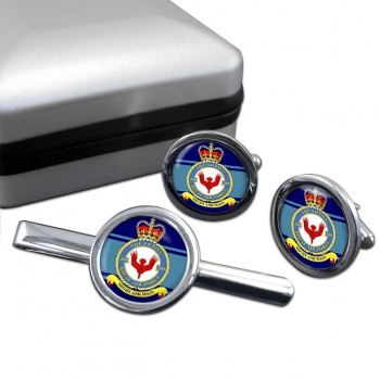 No. 209 Squadron (Royal Air Force) Round Cufflink and Tie Clip Set