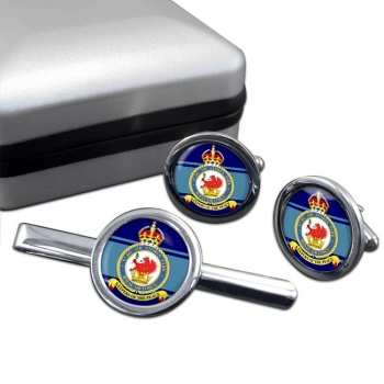 No. 402 Air Stores Park (Royal Air Force) Round Cufflink and Tie Clip Set