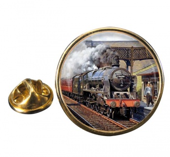 Steam Train (LMS Royal Scot Class 46108 Seaforth Highlander) Round Lapel