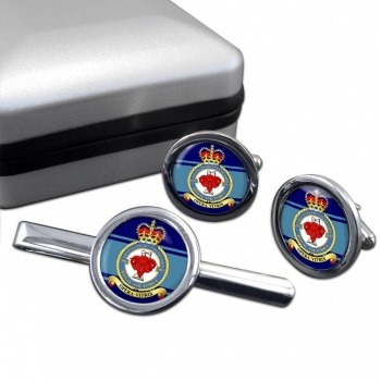 No. 5003 Airfield Construction Squadron (Royal Air Force) Round Cufflink and Tie Clip Set