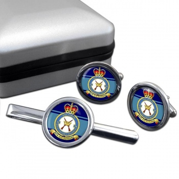 Royal Air Force Regiment No. 54 Round Cufflink and Tie Clip Set