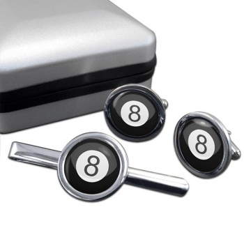 8 Ball Pool Round Cufflink and Tie Clip Set