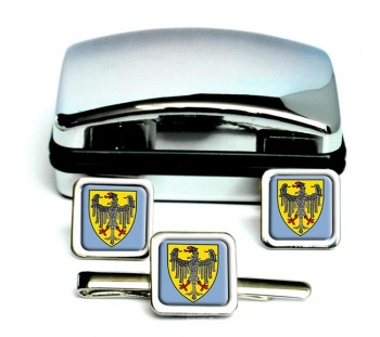 Aachen (Germany) Square Cufflink and Tie Clip Set
