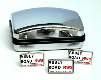 Abbey Road Rectangle Cufflink and Tie Pin Set