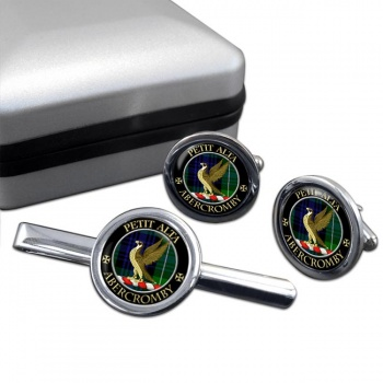 Abercromby Scottish Clan Round Cufflink and Tie Clip Set