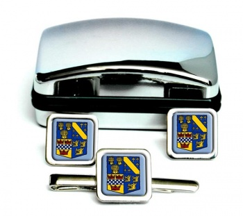 Aberdeenshire (Scotland) Square Cufflink and Tie Clip Set