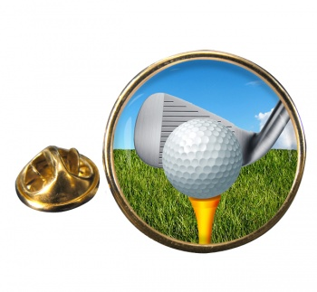 Golf Addressing the ball Round Pin Badge