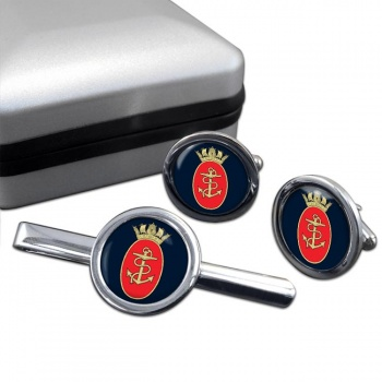 Admiralty Board RN Round Cufflink and Tie Clip Set