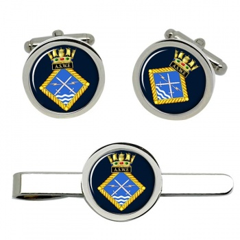 Admiralty Surface Weapons Establishment (Royal Navy) Round Cufflink and Tie Clip Set