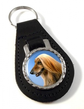 Afghan Hound Leather Key Fob