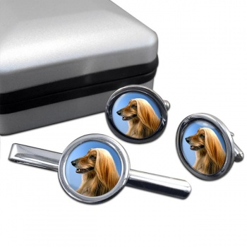 Afghan Hound  Cufflink and Tie Clip Set
