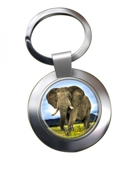 African Elephant Metal Key Ring