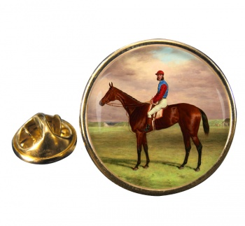 Bay Filly Agility by H. Hall Round Pin Badge
