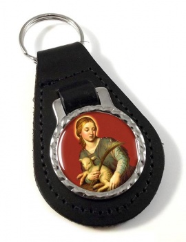 St. Agnes of Rome Leather Keyfob