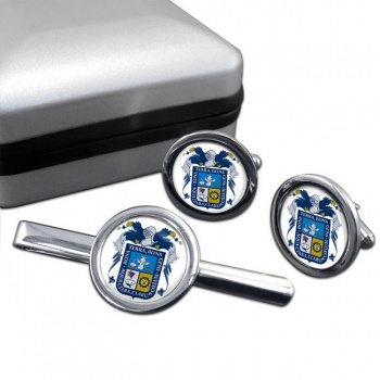 Aguascalientes (Mexico) Round Cufflink and Tie Clip Set