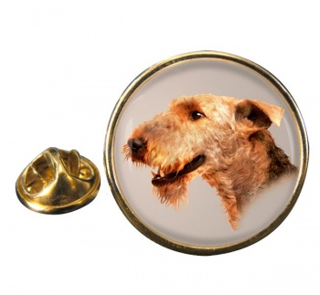 Airedale Terrier Round Pin Badge