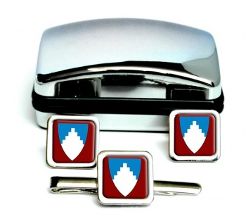 Akershus (Norway) Square Cufflink and Tie Clip Set