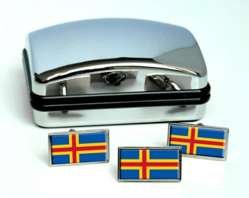Aland Flag Cufflink and Tie Pin Set