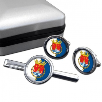 Alicante Ciudad (Spain) Round Cufflink and Tie Clip Set