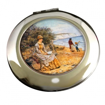 At the Seashore by Allingham Round Mirror