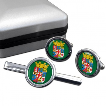 Almeria (Spain) Round Cufflink and Tie Clip Set