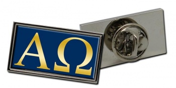 Alpha Omega Retangle Pin Badge