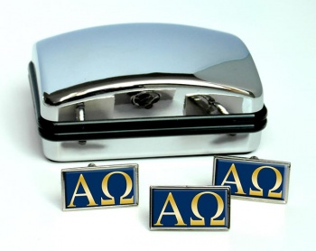 Alpha Omega Retangle Cufflink and Tie Pin Set