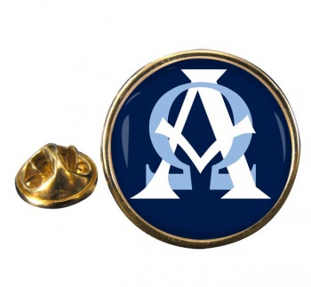 Alpha Omega Round Pin Badge