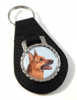 German Shepherd Leather Key Fob